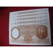 Cien Pesos Moneda Nacional San Martin Joven-correlativos