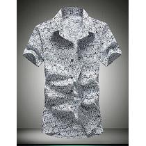 Masculino Camisa Casual Estampado Manga Curta Algodão