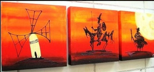 Cuadros quijote abstractos modernos tripticos decorativos en mercado libre - Triptico cuadros modernos ...
