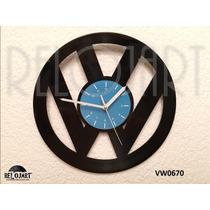 Original Reloj De Pared En Disco De Vinil - Vw Logo Emblema