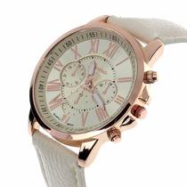 Relógio Marca Geneva Branco E Dourado Feminino Luxo Couro