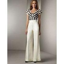 Calça Pantalona Importada Gg- Social Muito Elegante Em Linho