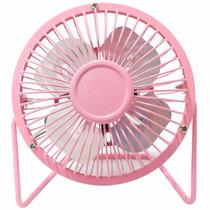 Mini Ventilador Portátil De Mesa Usb Ou Tomada Rotação Rosa