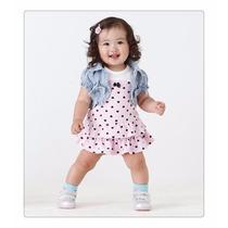 Vestido Infantil Casual Fashion Com Bolero Jeans. Pronta Ent