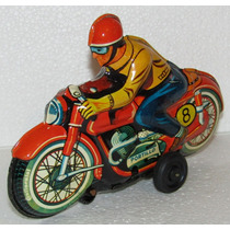 Antigua Motocicleta De Lamina Portillo Juguete Mexicano