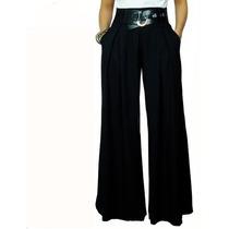 Calça Pantalona Feminina Com Passante De Cinto - Cod 023