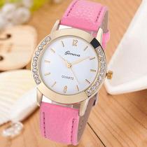 Relógio Feminino Strass Dourado Rosa Importado Barato Gen