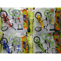 Kit Com 04 Bicicletas Dedo + 04 Skate Miniatura Acessorios