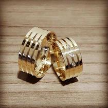 Par De Aliança Ouro 18k - 7mm/14grs - 03 Diamantes - Df707