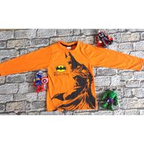 Camiseta Infantil Herói Manga Longa Super Homem Huck Batman