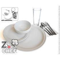 Kit Banquete Para 36 Personas Loza/ Platos, Vaso, Cubiertos