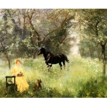 Verão Cavalo Campo Cachorro Pintor Alfred Roll Tela Repro