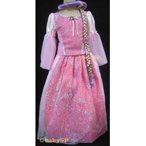 Fantasia Vestido Princesa Rapunzel - Enrolados Modelo Luxo