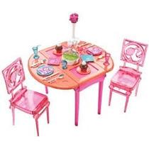 Boneca Barbie Comôdos Mesa De Jantar Refeições C/ Acessórios