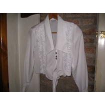 Blusa Camisa Blanca Con Bolados T Bolero M L Botones Bronce