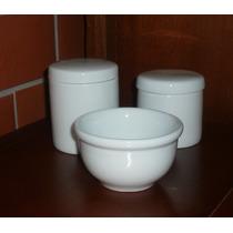 Kit Higiene Porcelana Bebe Jogo Pote Molhadeira Molheira