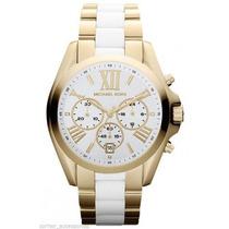 Relógio Michael Kors Mk5743 Dourado E Branco - Modelo Novo