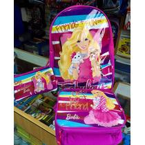 Combo Morral Lonchera Cartuchera Escolar De Barbie Importado
