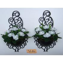 2 Arranjos Flores Rosas Brancas Artificiais Vaso Arandela
