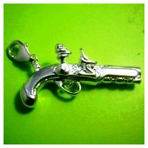 Dije Pistola Revolver-antiguo-plata .925 -flete Gratis