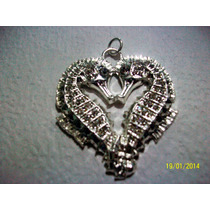Dije-2-caballitos De Mar-forma Corazon-cristales-plata.925