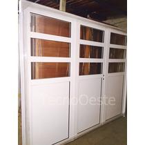 Porton Garage Aluminio Blanco 1/2 Vidrio Repartido H 240x200