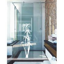 Adesivo Decorativo Parede Banheiro Box Vidro Floral Bambu