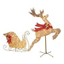 Trenó Iluminado Com Rena Natal Com Led Luxuoso Lindissimo!