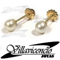 Aros De Oro 18k 1 Gr Perlas Cultivadas