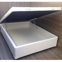 Cama Box Baú Casal Premium Corino Branco -fabricação Própria