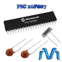 Microcontrolador Pic16f887 + 2 Capacitores 22 + Cristal