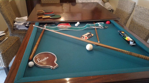 Mesa De Pool + Ping Pong + Comedor Madera Maciza Cerezo -  45.000 ...