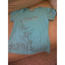 Playera Casual Para Dama Marca Weekend Color Aqua Op4