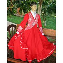 Vestido De Prenda Gaúcha Tam. 8-10-12-14 Mod.claudinha