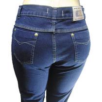 Calça Jeans Cintura Média Com Passante Com Elasticidade