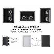 Kit C/3 Caixa Acústica Teto Som Ambiente Arandela Embutir
