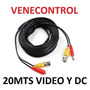 Cable Coaxial Camara Seguridad Cctv Bnc Video Corriente 20m