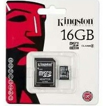Memoria Kingston 16gb Micro Sd Con Adaptador Tablet Clase 4