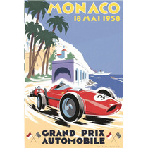 Lienzo Poster Gran Premio De Mónaco 1958 Anuncio Grand Prix