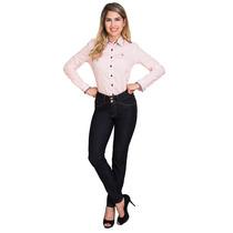 Calça Jeans Reta Feminina Cintura Alta Tradicional Promoção