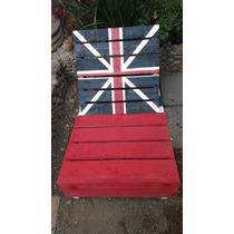 Silla De Palets Resiclados Con Bandera Inglesa Jardin