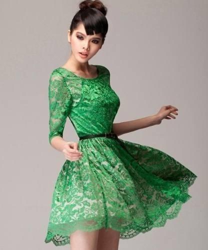 Vestidos verde de renda