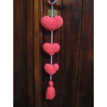 Colgante De Corazones Tejidos Al Crochet