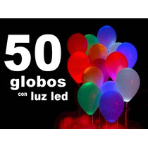 50 Globos Latex Con Luz Led Fiestas Eventos Party Helio Dj