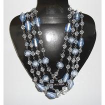 Collar Largo Con Esferas Azules Y Blancas Nuevo