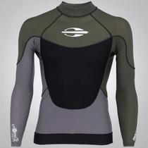 Camisa De Lycra Mormaii Storm 4 Oliva Proteção Uv Upf50+