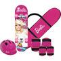 Skate C/ Acessórios Infantil Menina Barbie Original Fun