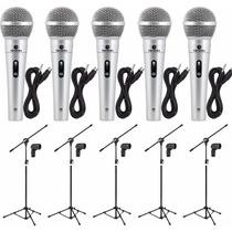 Kit 5 Microfones Profissionais + 05 Pedestais + Cabos