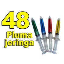 48 Pluma Boligrafo En Forma De Jeringa Tinta Negra