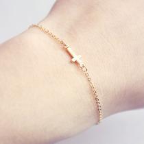 Pulseira Bracelete Cruz (crucifixo) Dourado